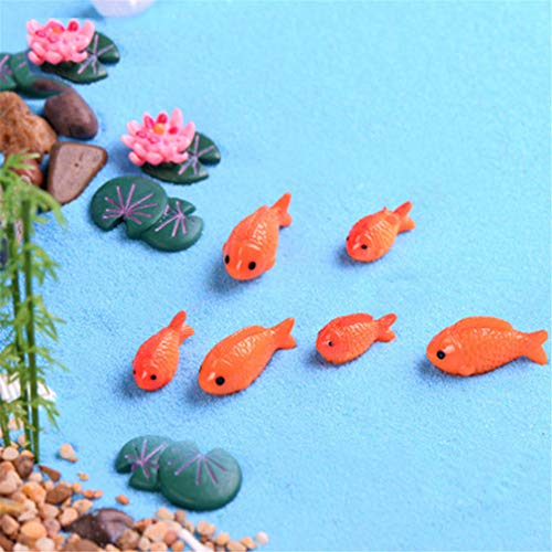 1 Pieces Resin Fake Goldfish Carp Fish Lotus Flower Leaf Culture Pond Model Small Figurine Crafts DIY Desk Home Ornament Big fish]()