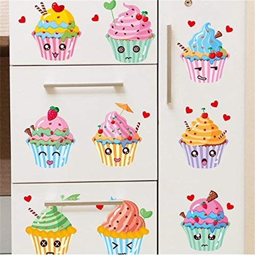 JQSM Candy Wall Stickers Delicious Cup Cake Decor Ice Cream Wallpaper Birthday Party Decorations Home Store Window Vinyl Decals