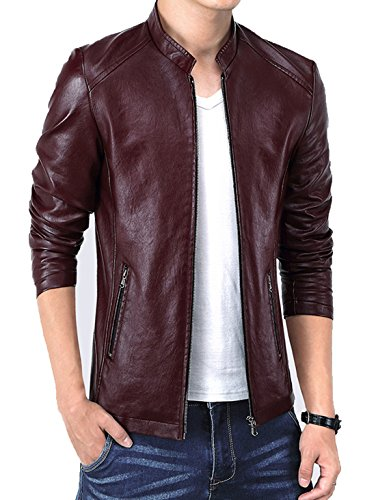KIWEN Men's Vintage Stand Collar Leather Jacket(Wine Red,S size)