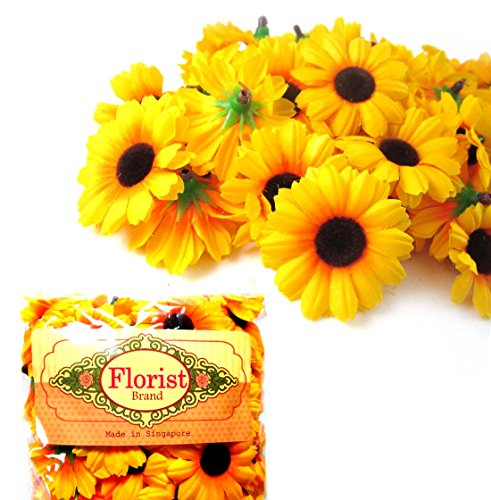(100) Silk Yellow Sunflower Gerbera Daisy Flower Heads , Gerber Daisies - 1.75 - Artificial Flowers Heads Fabric Floral Supplies Wholesale Lot for Wedding Flowers Accessories Make Bridal Hair Clips H