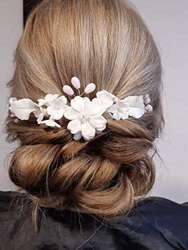 tocado comunion y novia de porcelana fria y cristal hecha a mano. Accesorio para cabello.