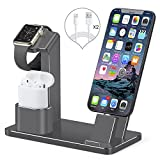 Apple Watch Stand,AirPods iPhone Dock,SENZLE 4 in1 Aluminum Desk Charger Stand Dock Station for Apple Watch Series 3/2/1 /AirPods /iPhone X /8 /8 Plus/7/6S/iPad Mini, 【NightStand Mode】-Space Gray
