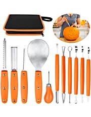 OWUDE Professional Pumpkin Carving Kit, 11 Pieces Heavy Duty Stainless Steel Carving Tools for Halloween with Carrying Case and 10 Pcs Carving Templates