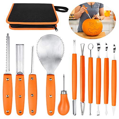 OWUDE Professional Pumpkin Carving Kit, 11 Pieces Heavy Duty Stainless Steel Carving Tools for Halloween with Carrying Case and 10 Pcs Carving Templates - -