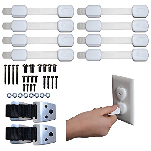 Child Safety Bundle W/ METAL Anti-Tip TV/Furniture Straps ( 2 Pack), W/ 8 Adjustable Adhesive Lock Straps, and 24 Outlet Plug Covers (Tips For Painting Outdoor Furniture)