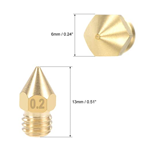 Brass 5pcs uxcell 0.6mm 3D Printer Nozzle Head M6 Thread Replacement for MK8 1.75mm Extruder Print