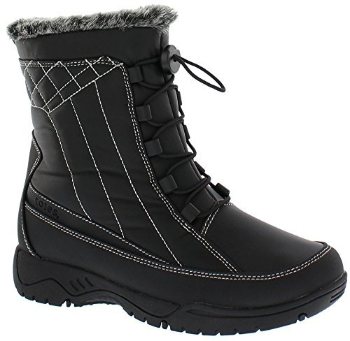 totes Womens Elle Black Snow Boot | Round Toe Mid Calf Flat Ankle High Eskimo Winter Fur Snow Boots Size - 9W (Available in Medium and Wide Width) ()