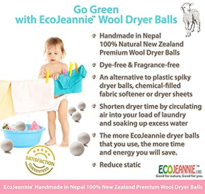 EcoJeannie® (WB0003 - 3 Pack) Wool Dryer Balls - New and Improved XL Eco-Friendly Natural Unscented Fabric Softener Static Guard - Handmade in Nepal with 100% natural New Zealand premium wool from surface to core.