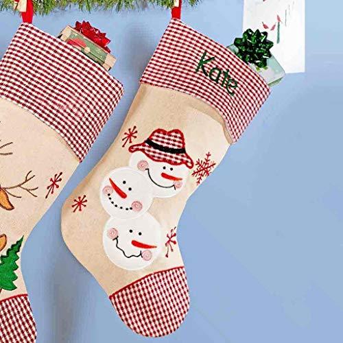 DIBSIES Personalization Station Personalized Festive Plaid Burlap Christmas Stocking (3 Snowmen)