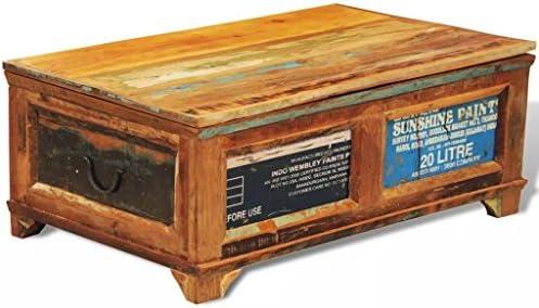vidaXL Coffee Table Storage Wood Trunk Furniture Living Room Rustic Reclaimed Weathered