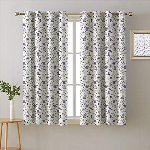 Jinguizi Birdcage Grommets Drapes/Draperies,Pattern with Lavender and Garden Accessories Floriculture Theme,Family Darkening Curtains,55W x 39L