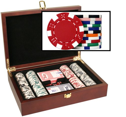 - Da Vinci Mahogany Wood Poker Chip Set with 200 11.5 gram chips