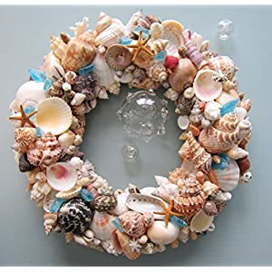 Beach Decor Seashell Wreath - Nautical Shell Wreath in Natural Colors w Sea Glass 41