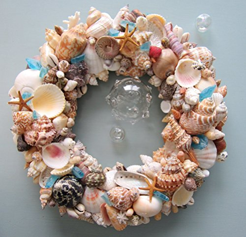 Beach Decor Seashell Wreath - Nautical Shell Wreath in Natural Colors w Sea Glass]()