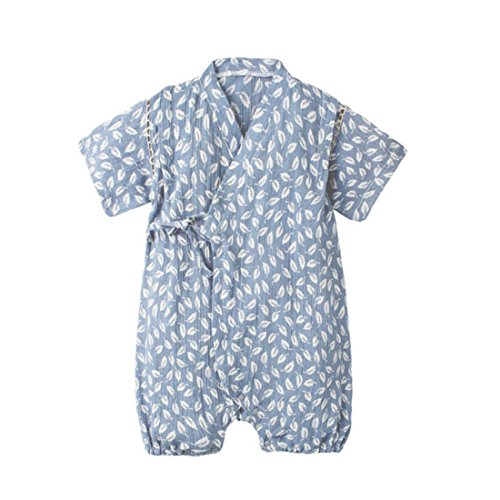 PAUBOLI Japanese Kimono Style Baby Rompers Bathrobe Pajamas Infant Cotton Comfy Loose Bodysuit (3-9 Months, 12) -