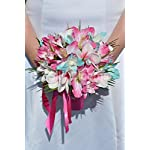 Tropical-Aqua-and-Fuchsia-Frangipani-Plumeria-Dendrobium-Orchid-and-Hibiscus-Bridesmaid-Bouquet