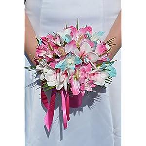 Silk Blooms Ltd Tropical Aqua and Fuchsia Frangipani Plumeria, Dendrobium Orchid and Hibiscus Bridesmaid Bouquet