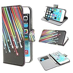 JJE Meteor Shower Wallet PU Leather Cover with Stand and Card Slot for iPhone 6