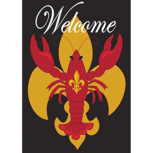 (Welcome Crawfish Fleur de Lis on Black 42 x 29 Rectangular Double Applique Large House Flag)