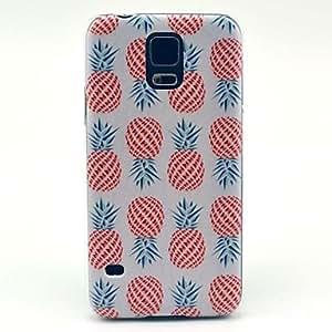 HP-Piña patrón de la fruta cubierta del estuche rígido para Samsung Galaxy i9600 S5