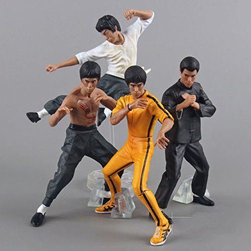 Cool Bruce Lee Kung Fu PVC Action Figures Collection Toys 4pcs/set hard plastic resin figurine - Kong Fu master