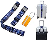 Luggage Straps Add A Bag Strap Heavy Duty Adjustable Suitcase Belts Travel Tags Label Accessories(Navy blue)