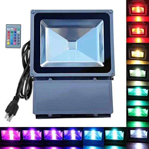 100W RGB Flood Light - TDLTEK 100W RGB Color Changing LED...
