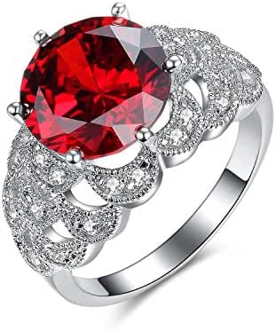 UMODE Jewelry Vintage Scales Design 5ct Solitaire Simulated Ruby Diamond Cubic Zirconia Cz Ring for Women