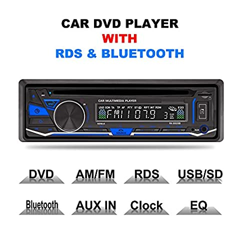 LSLYA(TM) 1 DIN 12V Car Stereo DVD/CD/Bluetooth Player Radio MP3/USB /SD/TF/AUX/FM/AM/RDS support with (Radios De Dvd)