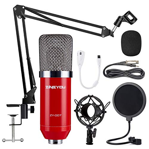ZINGYOU Condenser Microphone Bundle, ZY-007 Professional Cardioid Studio Condenser Mic Include Adjustable Suspension Scissor Arm Stand, Shock Mount and Pop Filter, Studio Recording & Broadcasting (Best Microphone For Radio Studio)