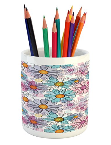 Flower Pencil Pen Holder by Ambesonne, Retro Spring Floral Pattern Grunge Funky Style Inspired Colorful Daisies Bohemian, Printed Ceramic Pencil Pen Holder for Desk Office Accessory, (Funky Daisy)