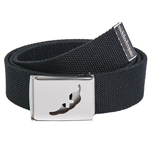swisspepper -- Webbed Belt -- Golf Belt -- / BLACK (Cut Out Logo Buckle Belt)