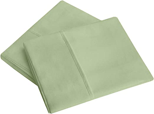 PC Diana Linen Throw Pillowcases of (65 cm x 65 cm) Square Size in Sage Solid