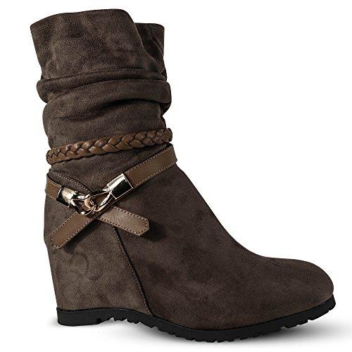 Damen Stiefeletten Keilabsatz Boots Stiefel leicht gefüttert Wedge ST752 Khaki