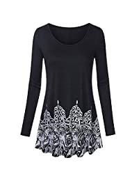FarJing Womens Tops Long Sleeve Scoop Neck Tunic Vintage Floral Bottom Pleated Shirt