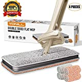 YONILL Double Sided Microfiber Flat Mop, Easy Self Wringing Wet and Dry Flip Mop for Corner, Bathroom, Kitchen, Tile and Hardwood Floor Silver (A Total of 4 Mop Pads) (Silver)
