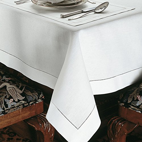 Marbella Tablecloths, White (70'' x 162'') by Schweitzer Linen