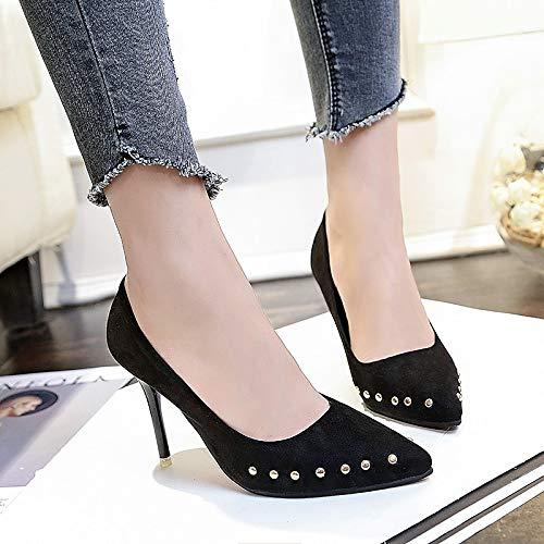Fall Stiletto Shoes Black Heel Microfiber Red ZHZNVX Grey Basic amp; Party Gray Women's Evening amp; Pointed Rivet Toe Spring Pump Heels wSXfxzBq