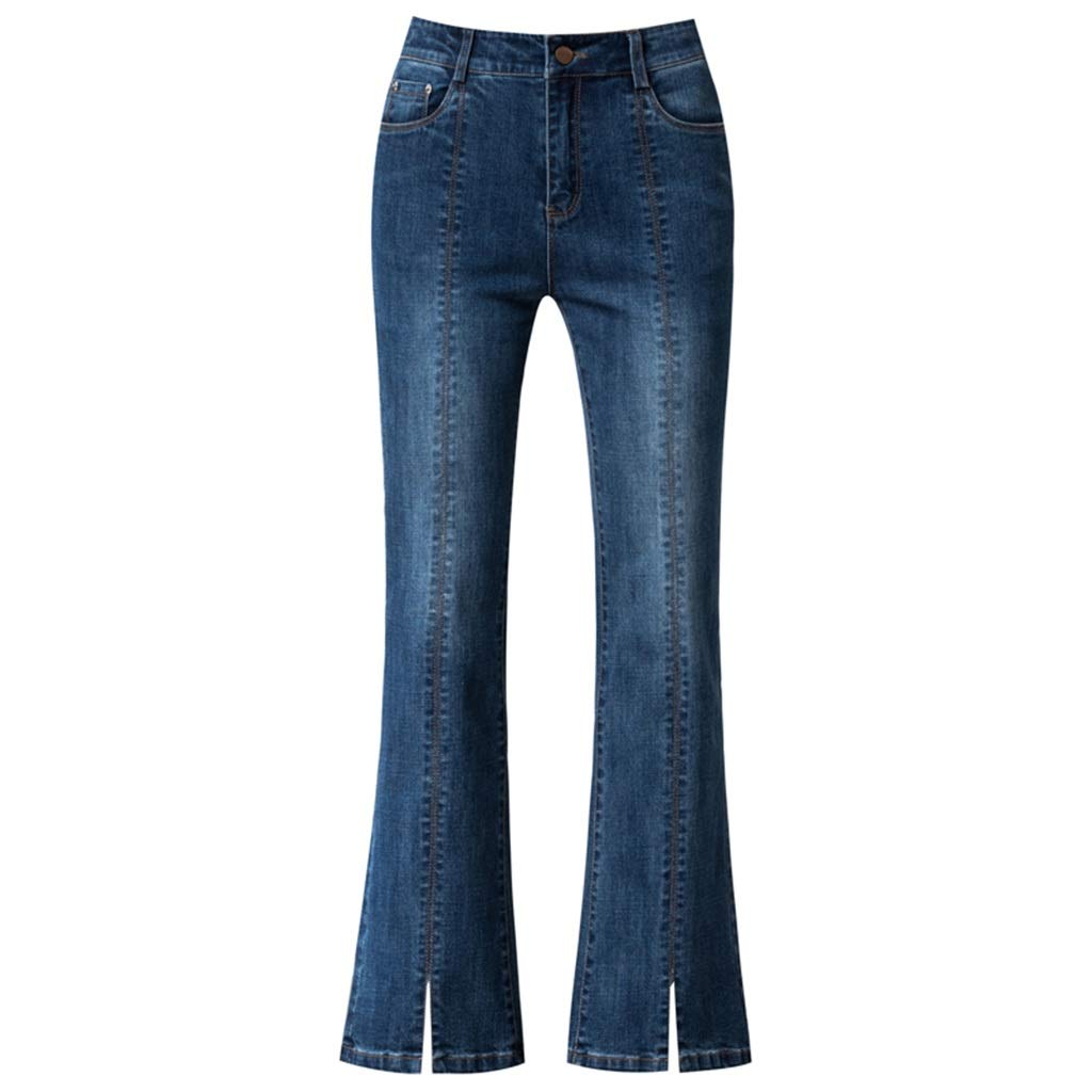 bluee High Waist Jeans Female New Korean Version Loose Thin bluee Front Slit Trousers Drape Micro Trousers High Waist Slimming Pants Length 9595cm (color   bluee, Size   28 L)
