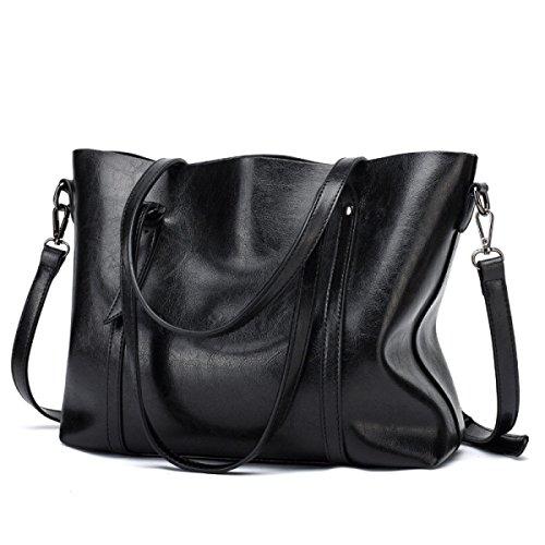 Soft Ladies Gym Tote Bag Satchel Women's Black Classic Handbags Shopper Crossbody Holiday Bag Large Leather qnERaw