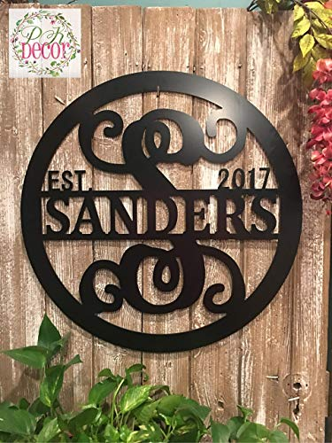 (Personalized Last Name Sign Weatherproof 24 in - ACM Metal Monogram Letter Wall Decor - Family Established Signs - Custom Door Hanger - Monogram Outdoor Patio Sign - Wedding Gift - Anniversary)