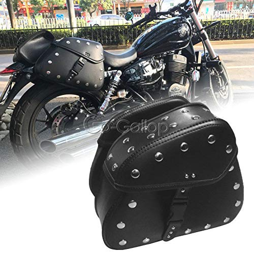 REFIT Black Saddlebags Side Storage for Harley Electra Glide Road King Street Bob XL1200/Kawasaki VN Classic Nomad Drifter 1500 1700
