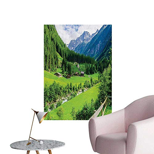 Anzhutwelve Mountain Photographic Wallpaper Alpine Landscape with Meadow Cottages and Pines Stream in Village View PrintGreen White W24 xL32 Funny Poster ()