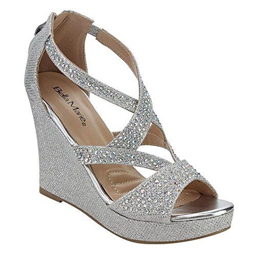 Bella Marie Women's Rhinestone Platform Wedge Sandal, Silver 8