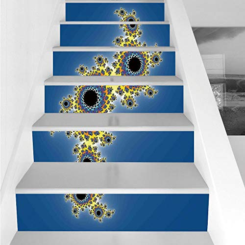 Stair Stickers Wall Stickers,6 PCS Self-adhesive,Fractal,Floral Spiral Unusual Modern Pattern with Rotary Lined Artistic Display,Yellow Violet Blue,Stair Riser Decal for Living Room, Hall, Kids Room D