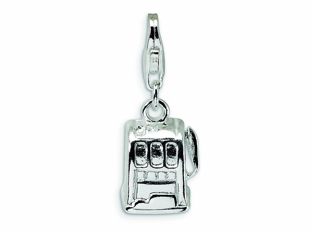 Amore LaVita Sterling Silver Polished Slot Machine Lobster Clasp Bracelet Charm