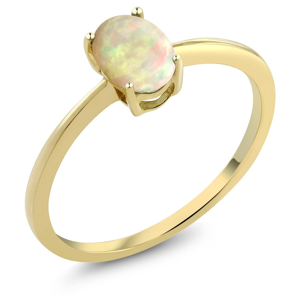0.51 Ct Oval Cabochon White Ethiopian Opal 10K Yellow Gold Solitaire Engagement Ring (Size 5)