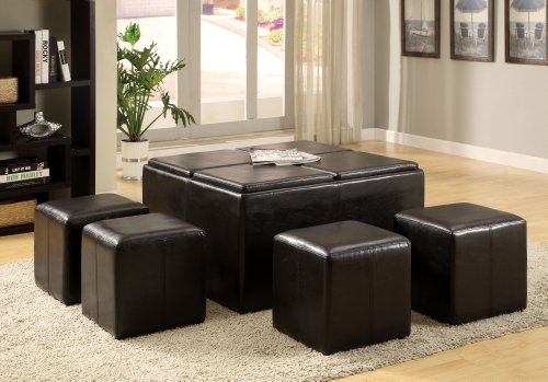 - Furniture of America 5-Piece Cocktail Ottoman Table and Stool Set, Dark Espresso