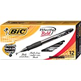 BIC VLGB11-Blk  Velocity Bold Retractable Ball Pen, Bold Point (1.6mm), Black, 12-Count