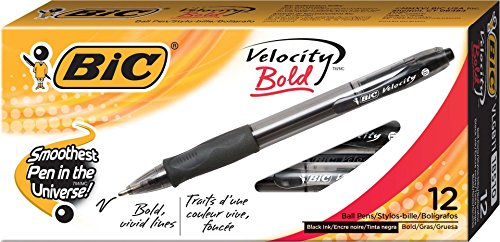 Ballpoint Bold Black Ink (BIC Velocity Bold Retractable Ball Pen, Bold Point (1.6mm), Black, 12-Count)